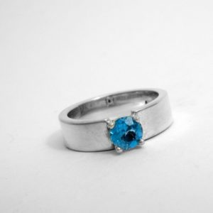 Sterling Recess Ring with Blue Topaz