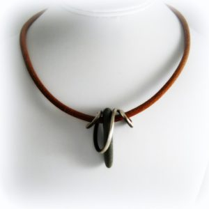 Sterling Wysteria Knot with Kaslo River Stone on Leather Cord